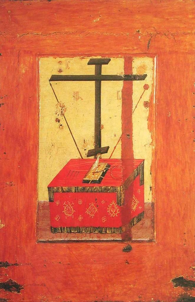 «Престол и орудия Страстей». Обратная сторона Владимирской иконы Божией Матери.